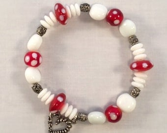 Handmade in the USA  White and Red Glass and Metal stretch Bracelet with Heart Charm