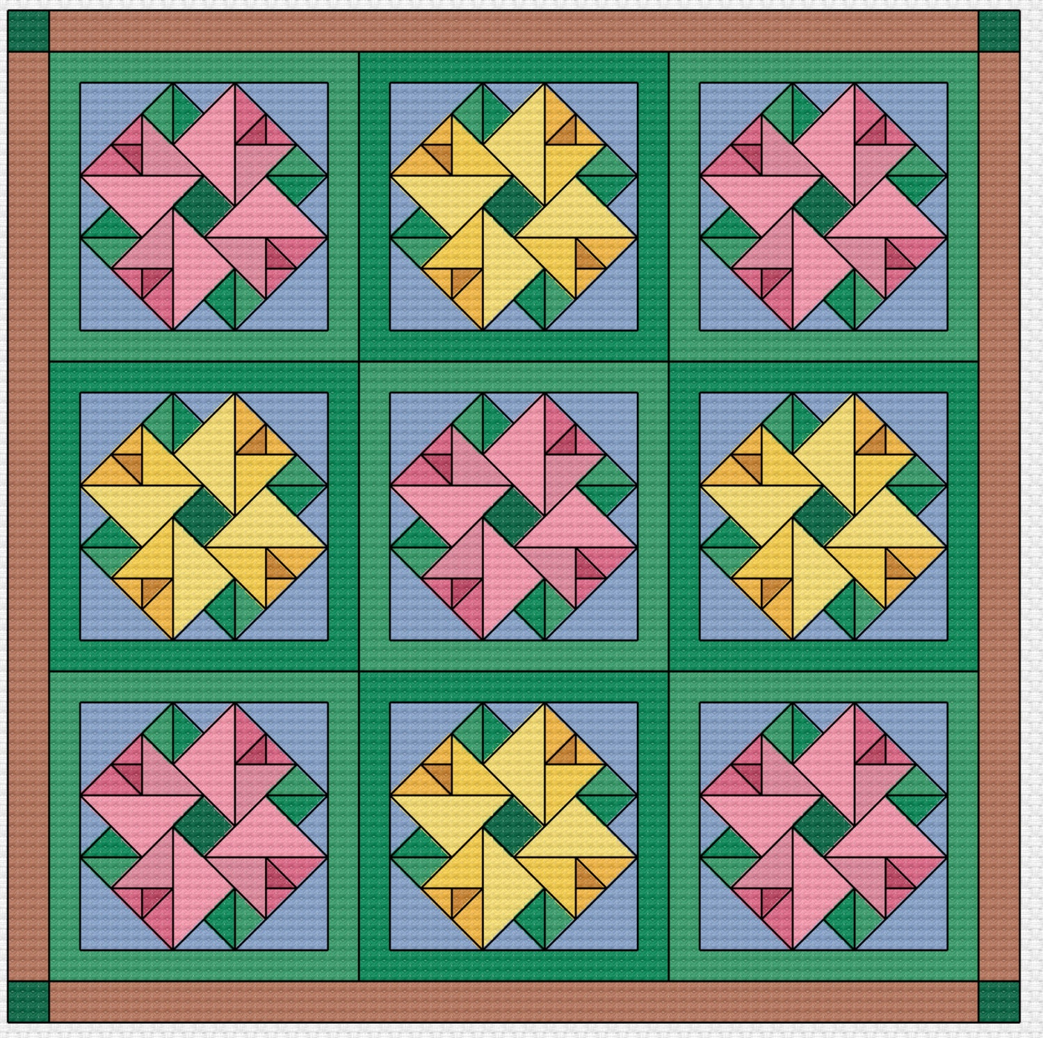 Cross Stitch Pattern Quilt Block Double Aster