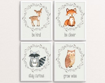 Woodland Nursery Set, Deer Poster, Fox Print, Owl Printable, Racoon Art, Woodland Printables, Be Kind, Be Clever, Stay Curious, Grow Wise