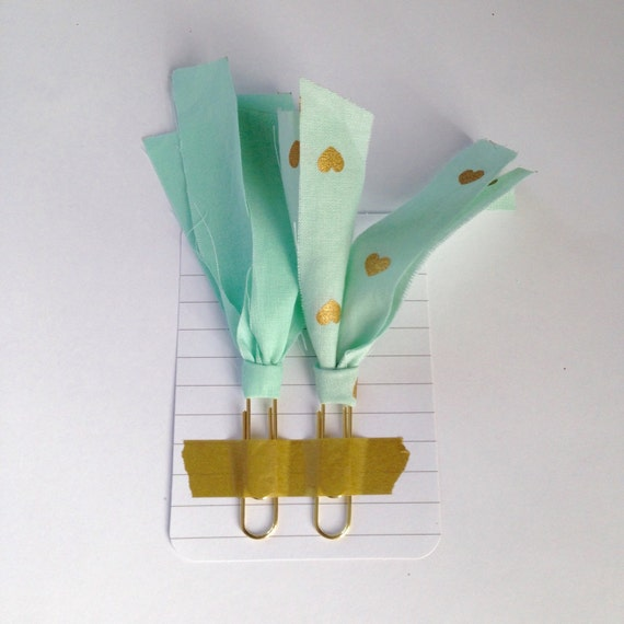 Mint green fabric paper clip bookmarks by bellapaperdesign on etsy