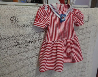 Girls -Size 2T --Red and White Striped Sailor Dress with nautical collar