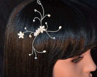 Fresh water pearl hair comb pearl vine tiara design. FRESH WATER PEARLS.