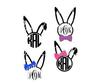 Easter Svg, Easter Monogram Svg, Bunny SVG, Bunny Monogram Cutting, Easter DXF, Cricut Digital File, Cuttable Design, Silhouette Easter DXF