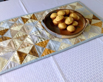 "Quilted Table Runner / table mat / 32 X 14.5"" / Carolyn Friedlander fabric / half-square triangles"