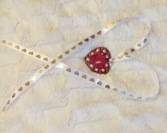 Gold Heart Ribbon & Pendant