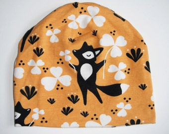 Fox hat in yellow organic cotton jersey knit (size age 3-12 years)