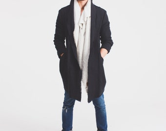 Casual Menswear Coat with loose collar and pockets