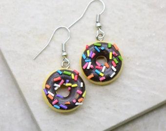 Chocolate Donut Earrings - Silver Toned Brass Earring Hook - Vintage Style - Dainty Dessert Jewelry