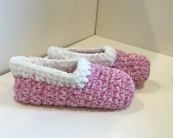 Pink and White Crochet Slippers