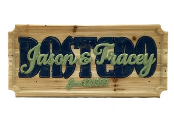 Wedding Date Custom Wood Carved Sign