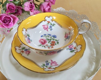 Vintage Aynsley Teacup and Saucer, Dark Yellow Over White with Pink Rose Florals, Bone China - c. 1930s