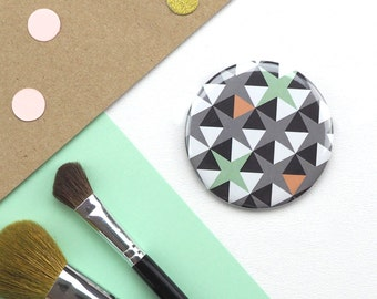 Compact Mirror with Geometric Print // Pocket Mirror // Small Round Mirror // Gifts for Her // Stocking Filler // Geometric Pattern