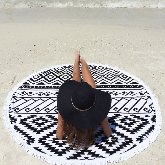Beach Lulu Round Beach Towel with Tassels, Roundie, Circle Towel, Round Beach Blanket, Round Beach Throw, Mandala Beach Towel