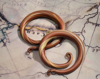 Earth tones -copper, cream, brown and clear colored hoop/spiral earrings for stretched lobes - Gauges