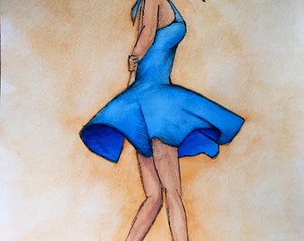 Watercolor - Dancing Girl in a Blue Dress