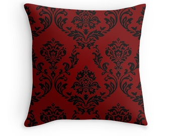 Red and Black Gothic Floral Throw Pillow