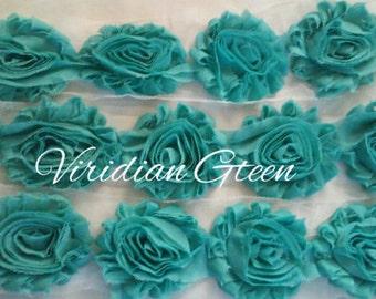 "Solid Viridian Green 2.5"" Shabby Flower Rose Trim U Pick By the Yard DIY"