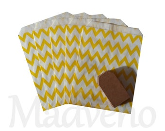 Lot of 10 bags yellow chevrons paper