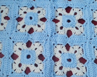 Crochet wool Baby blanket. Blue and White.