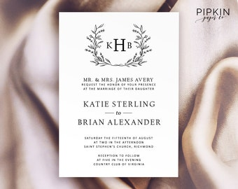 Monogram Wedding Invitation Template | Wreath Wedding Invitation | Wedding Invitation Set Template | Free RSVP Template | Cheap Invitations