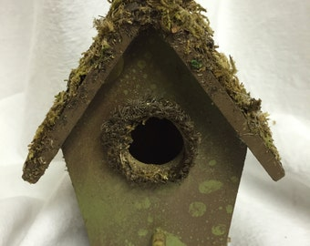 DECORATIVE BIRD HOUSE:  Mossy Ridge and Entry Bark Shingled Birdhouse with Bur Oak Acorns