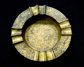 VINTAGE: Solid Brass Edged Ashtray - Candle Holder - Home Decor - SKU 14-D2-00006508
