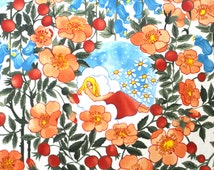 Vintage Fabric Remnant - 1960s to 1970s Art Deco Angel Floral Fabric - Vibrant Colorful Angels in Clouds w/ Flowers Material Piece - 1 yd