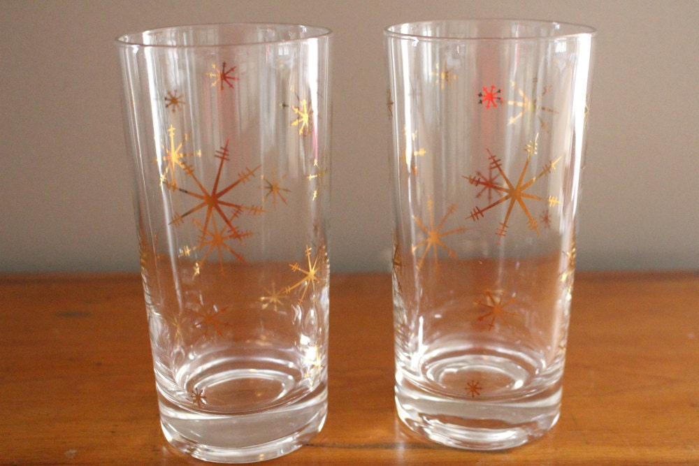Vintage atomic gold starburst drinking glasses mid century - Starburst glassware ...
