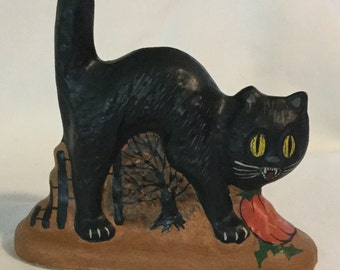 Vaillancourt Folk Art Chalkware Halloween Black Cat Figurine