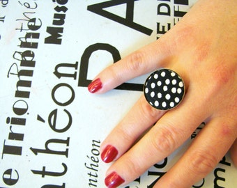Black White ring Button ring dotted Vintage ring Bohemian ring Boho ring Boho accessory Fabric button ring Black dotted Christmas gift