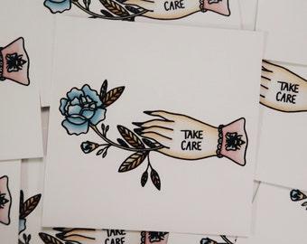"Take Care 3""x3"" Mini Print"