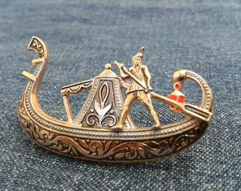 Vintage Damascene Gondola Brooch