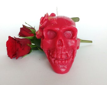 Skull candle Decorative candle Gothic candle Gift for him Handmade candle Home decor Red candle
