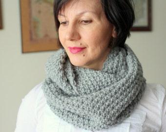 Scarf Infinity scarf Snood Wool scarf Grey scarf Wool blend scarf