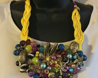 Multi bead wired necklace
