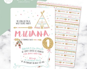 Girls 1st Birthday Invitation 2 sided // Teepee // 120 x 180mm // Change to any Age