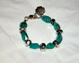 Sterling Silver, Turquoise Bracelet with Cross Charm, Signed SSD and 925