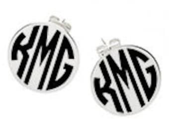 Monogram silver disc earrings