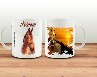 Mug, cup coffee or tea, ground horse, customizable name