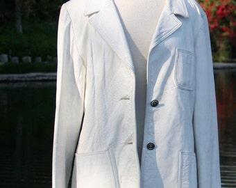 White Leather Blazer