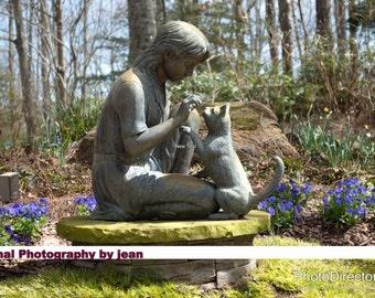 Child and Kitten Sculpture