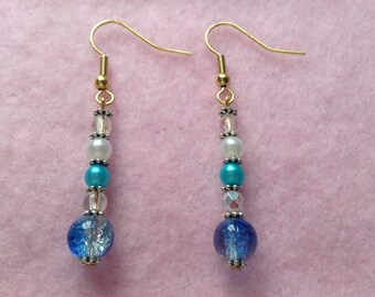 Blue & White Drop Beaded Earrings.