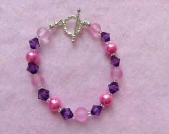Pink & Purple Beaded Bracelet.