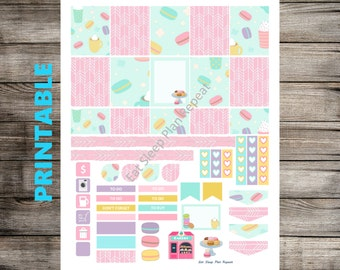PRINTABLE for Erin Condren- Macaron Weekly Planner Sticker Kit for EC Life Planner Vertical Spring
