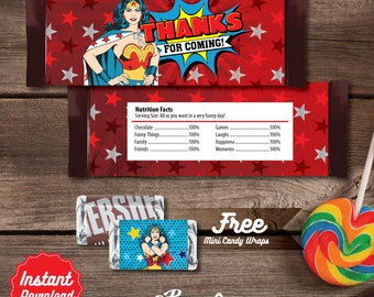 OFF - Wonder Woman Printable Candy Bar Wrapper, Wonder Woman Labels, Wonder Woman Birthday decoration, instant download, DIY, Party