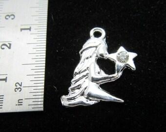 1 Silver Plated Clear Rhinestone Zodiac Charm Pendant - Virgo (B133a)