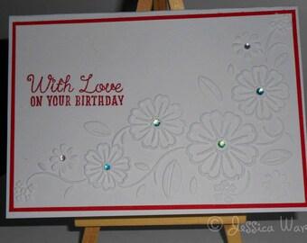 With love on your birthday Handmade Card