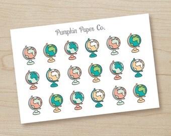 P214-Globe planner stickers, travel planner stickers, planner stickers, reminder stickers, roadtrip stickers, flight, 18 stickers, PPC148