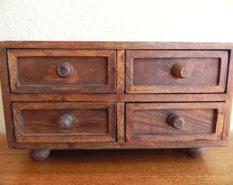 Wood Jewelry Box with four drawers.  This box looks fantastic as it is!  Ready to hold your jewelry or collectables.