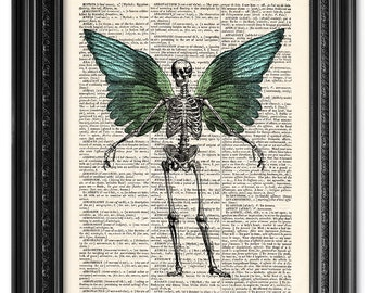 Skeleton with wings, Dictionary art print, Vintage book art print, upcycled dictionary page, Anatomy art, Home Wall Decor, Gift  [ART 067]